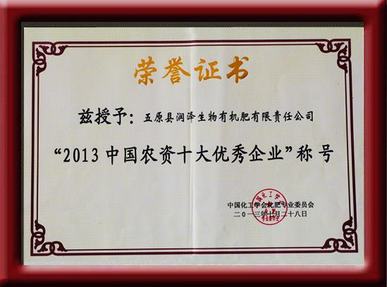 2013中国农资十大优秀企业